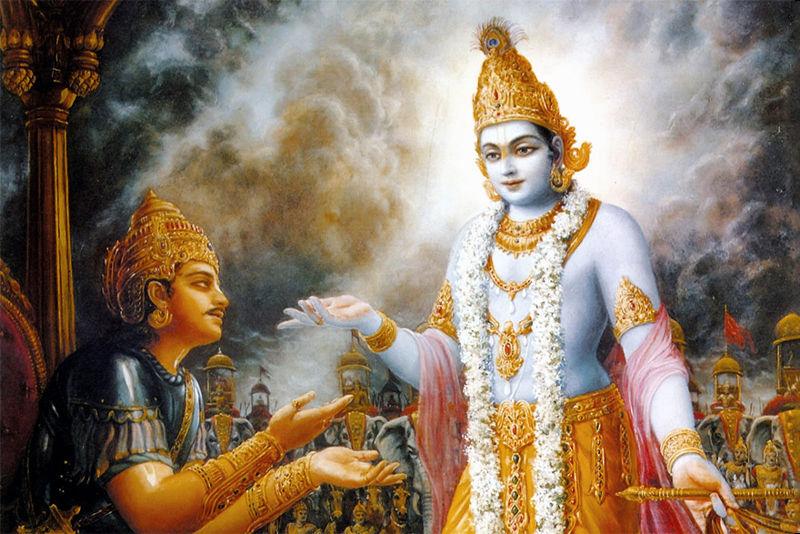 O Bhagavad Gita, quinto livro do grande épico hinduísta Mahabarata, narra os ensinamentos que Krishna dá para Arjuna.